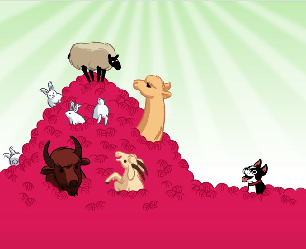 A screenshot of Ravelry's log in page, showing a sheep, rabbits, goat, alpaca, bison and Bob the Boston Terrier in a pile of pink yarn balls.