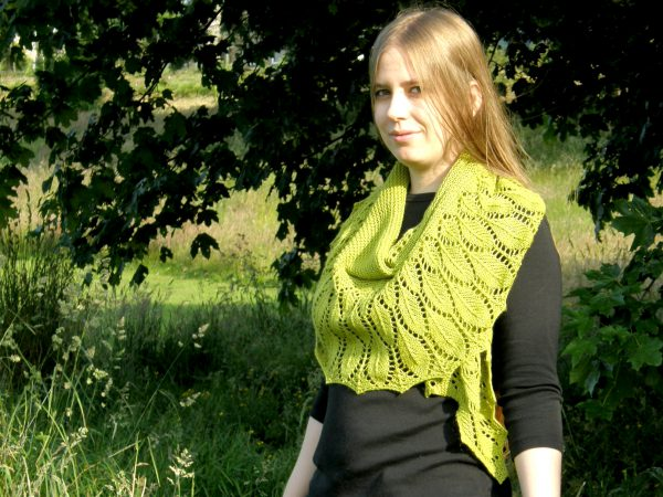 A green shawl with a feather patterned border