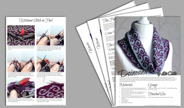 A spread showing the pages in the pattern for Doineann