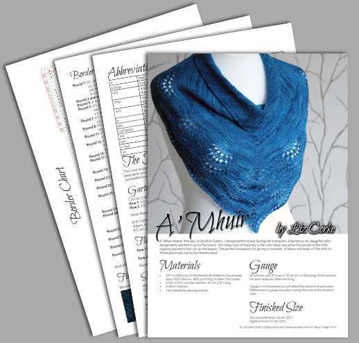 A spread of the pages in the pattern for A' Mhuir