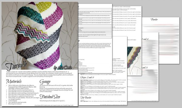 A spread showing the pages in the Turadh pattern