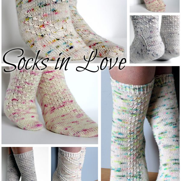 A collage showing five socks with textured patterns and the words Socks in Love