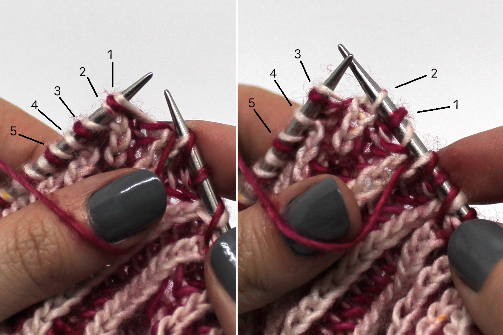 Two images. Left image: Five stitches labelled 1 - 5. Right Image: Stitch 1 and 2 have been slipped to the right hand needle, stitches 3, 4 and 5 are on the left hand needle.
