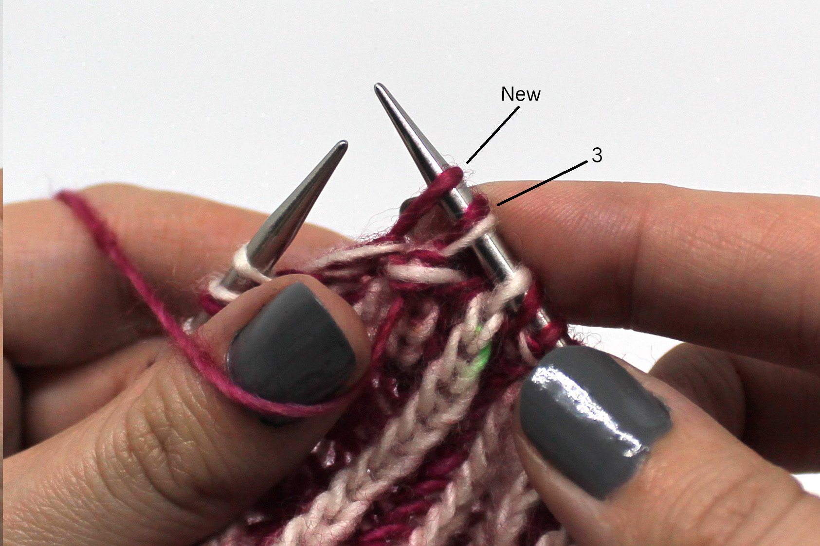 Stitch 3 has been slipped from the cable needle to the right hand needle, then the new stitch has been slipped to the left hand needle
