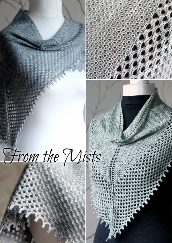 A collage of four photos showing the two patterns included in the From the Mists Collection - A textured cowl and shawl with a wide lace edge and picot bind off