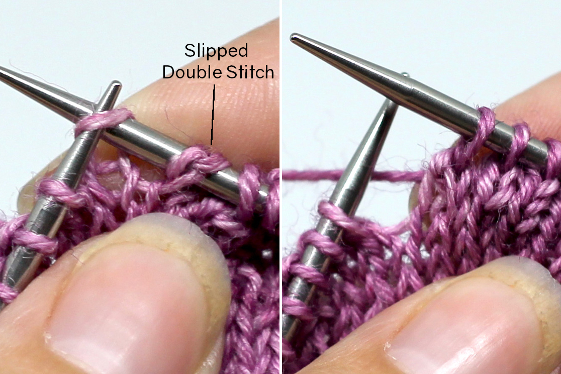 Two images showing the knit side of a piece of knitting. Left image: A double stitch has been slipped knitwise to the right-hand needle and the second stitch of the ssk is in the process of being slipped. Right Image - The completed ssk.