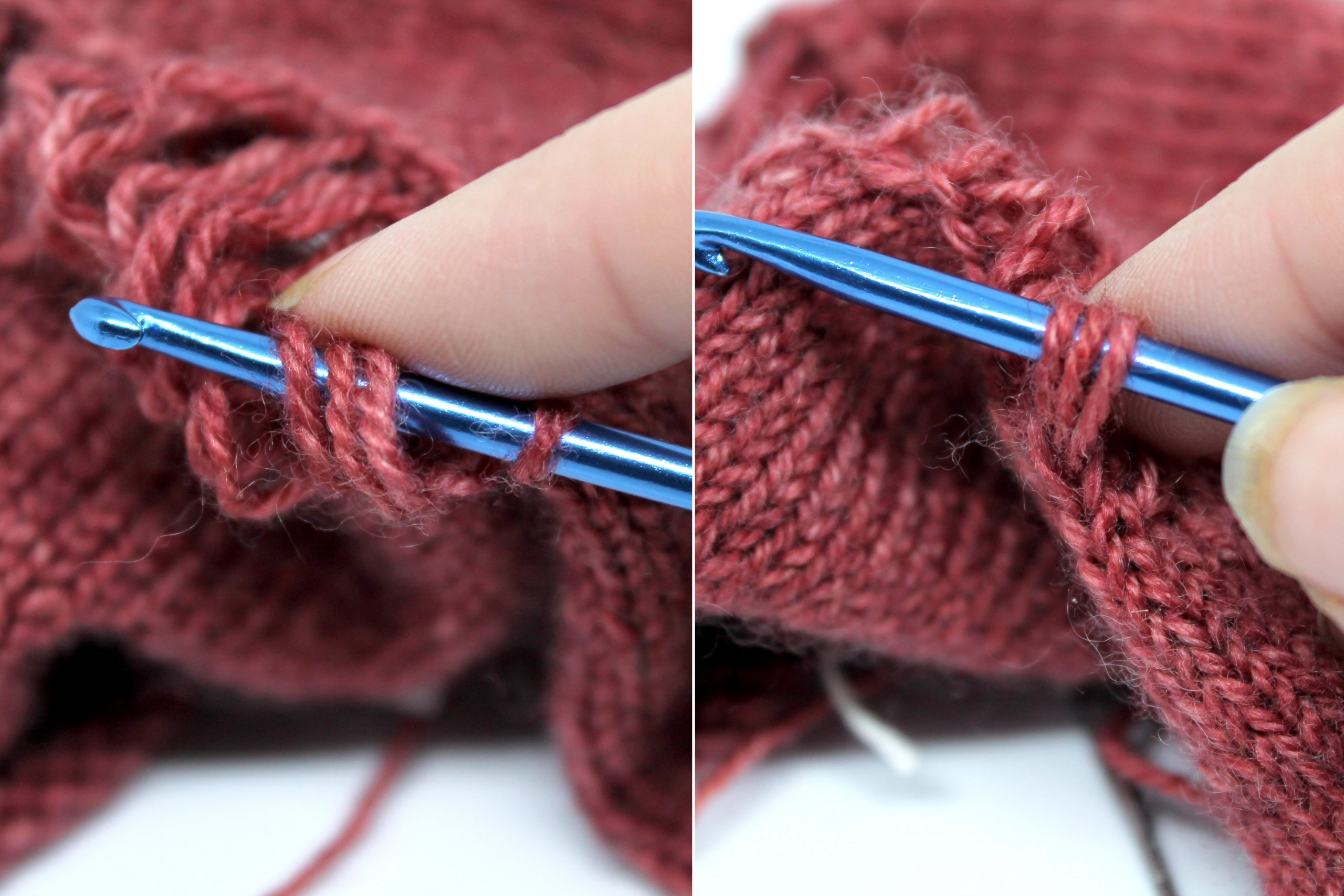 Two images. Left image: Three of the laddered strands of yarn have been placed on the crochet hook beside the stitch from step 2. Right Image: The three laddered strands have been pulled through the single stitch and remain on the crochet hook.