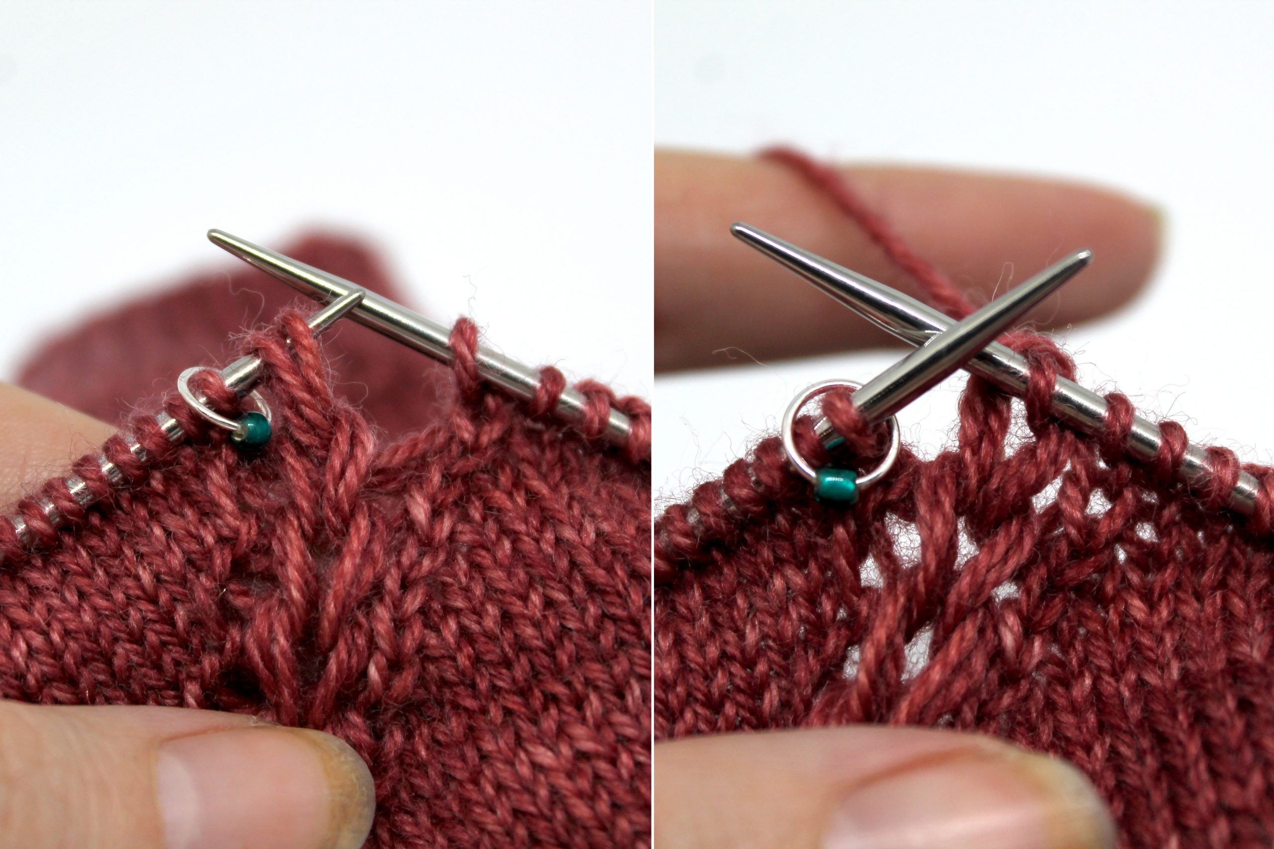 Two images. Left Image: The three remaining strands have been placed on the left hand knitting needle as one stitch. Right Image: The three strands have been knit together as one stitch which is now on the right hand needle.