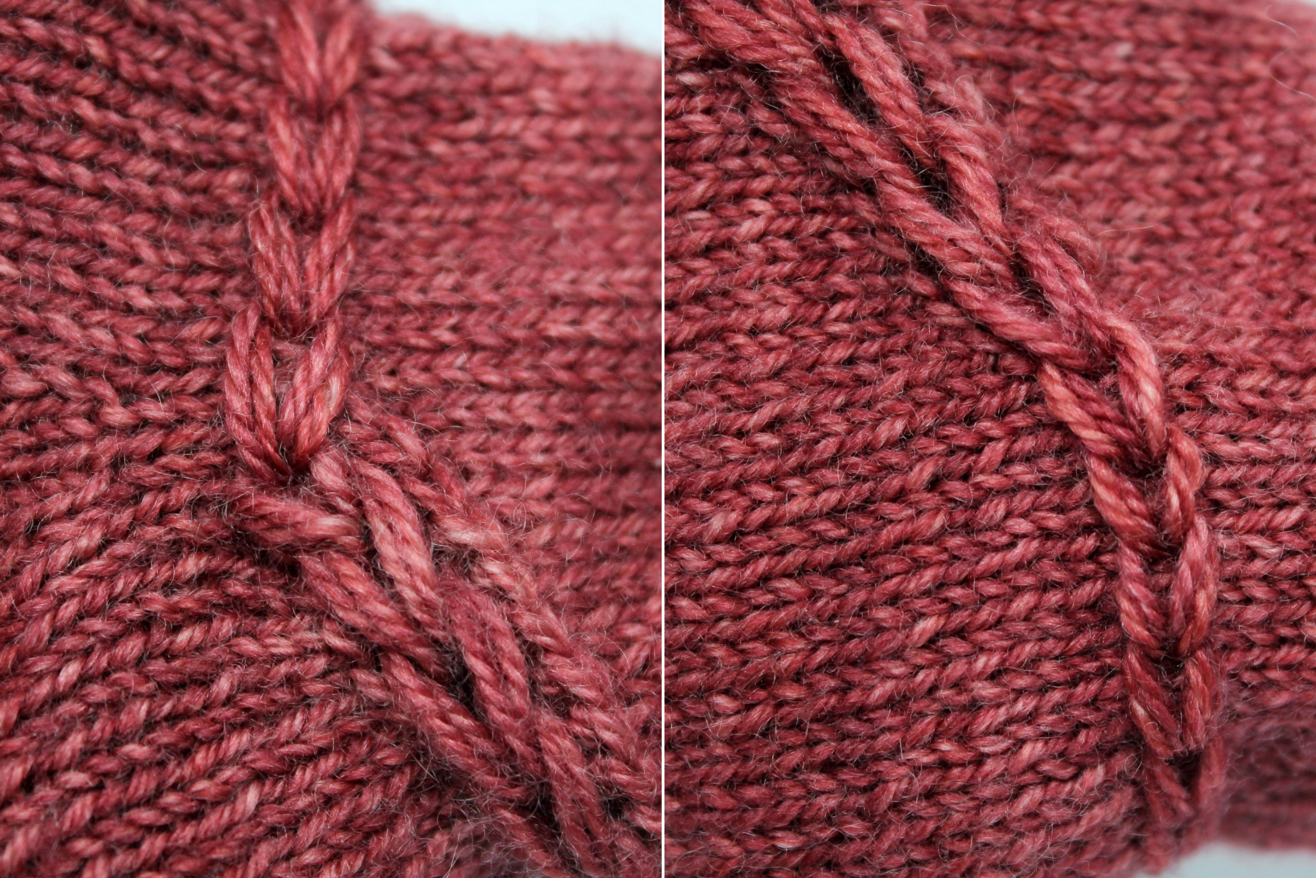 Close ups of the finished chain stitch showing how it joins to the dropped stitch braid at each end
