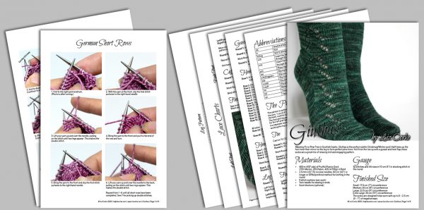A spread of the pages in the pattern for Giuthas