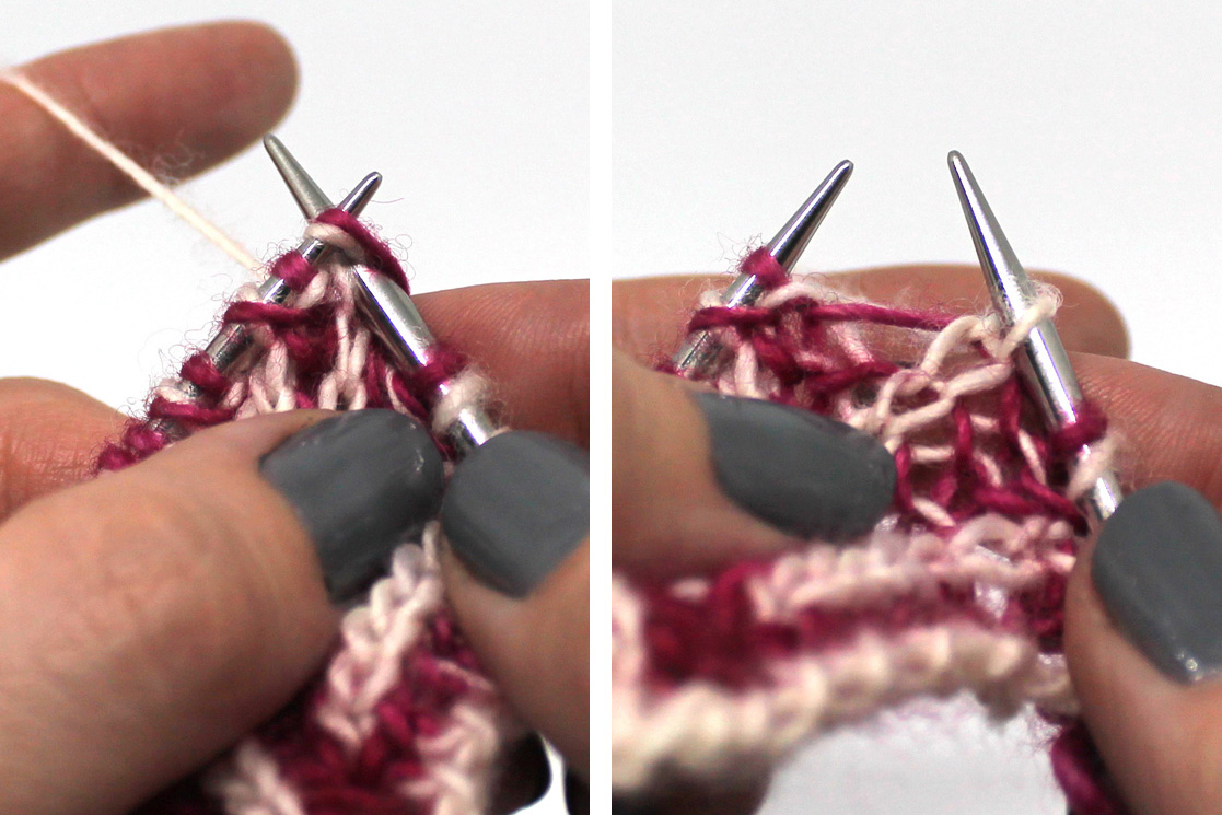 Two Images. Left Image: The right hand needle has been inserted into the first stitch and yo on the left hand needle. Right Image - The completed brk stitch on the right hand needle