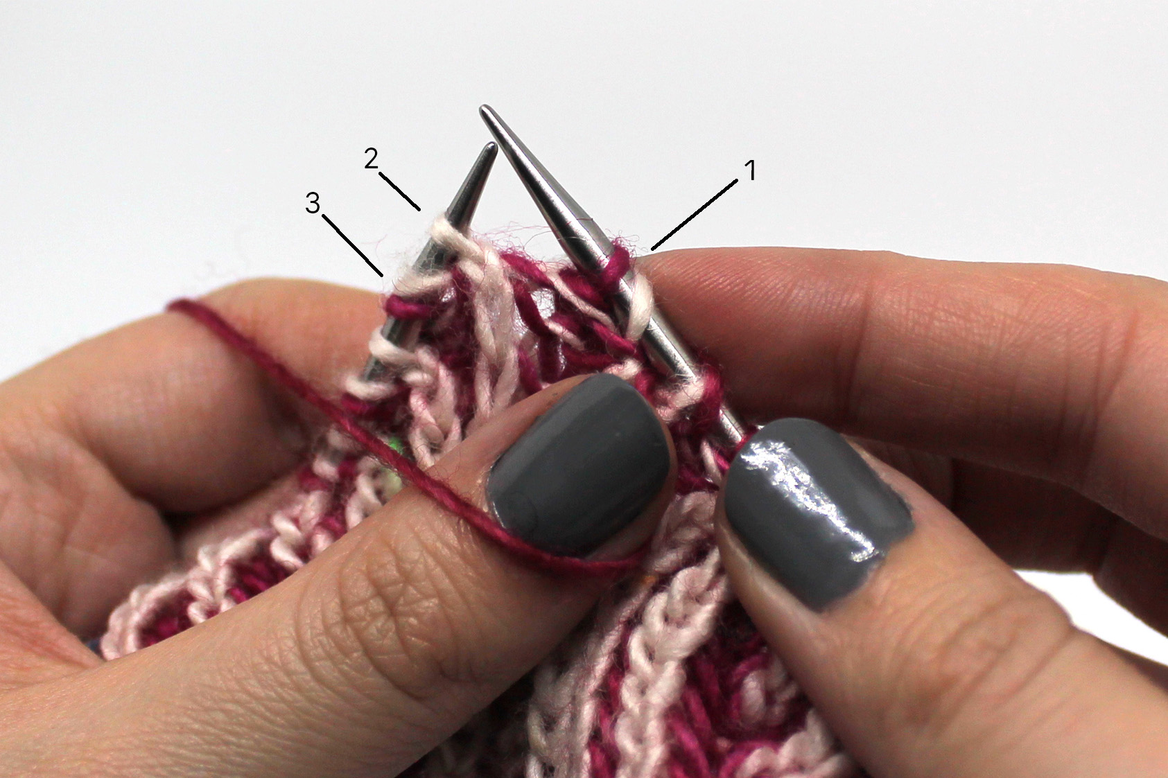 Three stitches labelled 1 - 3. Stitch 1 and the associated yarn over have been slipped to the right hand needle. Stitches 2 and 3 remain on the left hand needle.