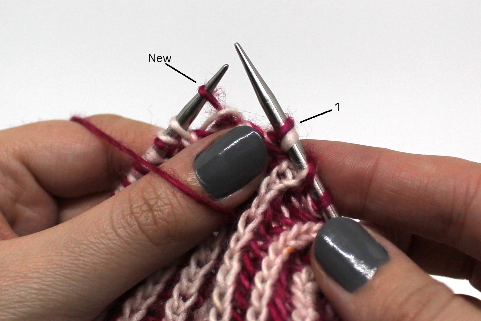 Pass stitch 3 over the new stitch and off the needle