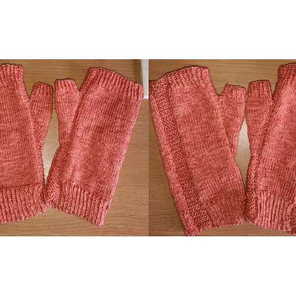 A pair of fingerless mitts knit in peach yarn showing the garter stitch columns around the thumb gusset and the outside of the hand