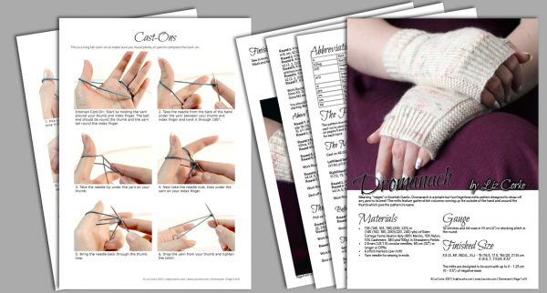 A spread of the pages in the pattern for Dromanach