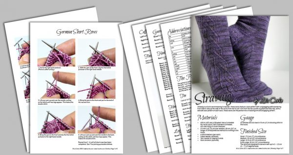 A spread showing the pages in the pdf pattern for Stravaig
