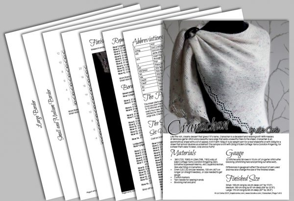 A spread showing the pages in the pattern for Cranachan