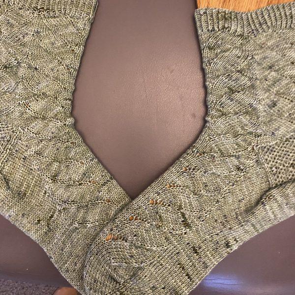 Marjorie knit her large socks in Barnyard Knits in Nantucket