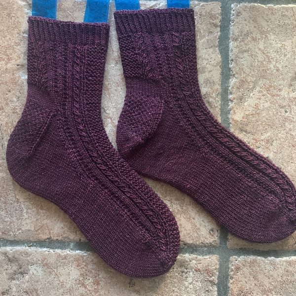 Shanthi knit her small Tìorail in Life in the Long Grass Twist Sock in Plum