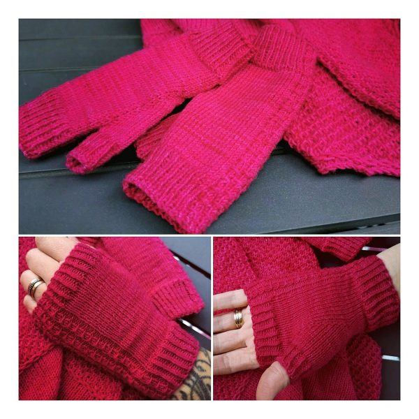 Jessica made her XS Aisneach Mitts in Auracania Botany Lace - They also fit her 4 year old!